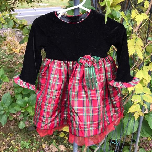 a33acb672 George Dresses | Christmas Red Plaid Black Velvet Dress 12m | Poshmark